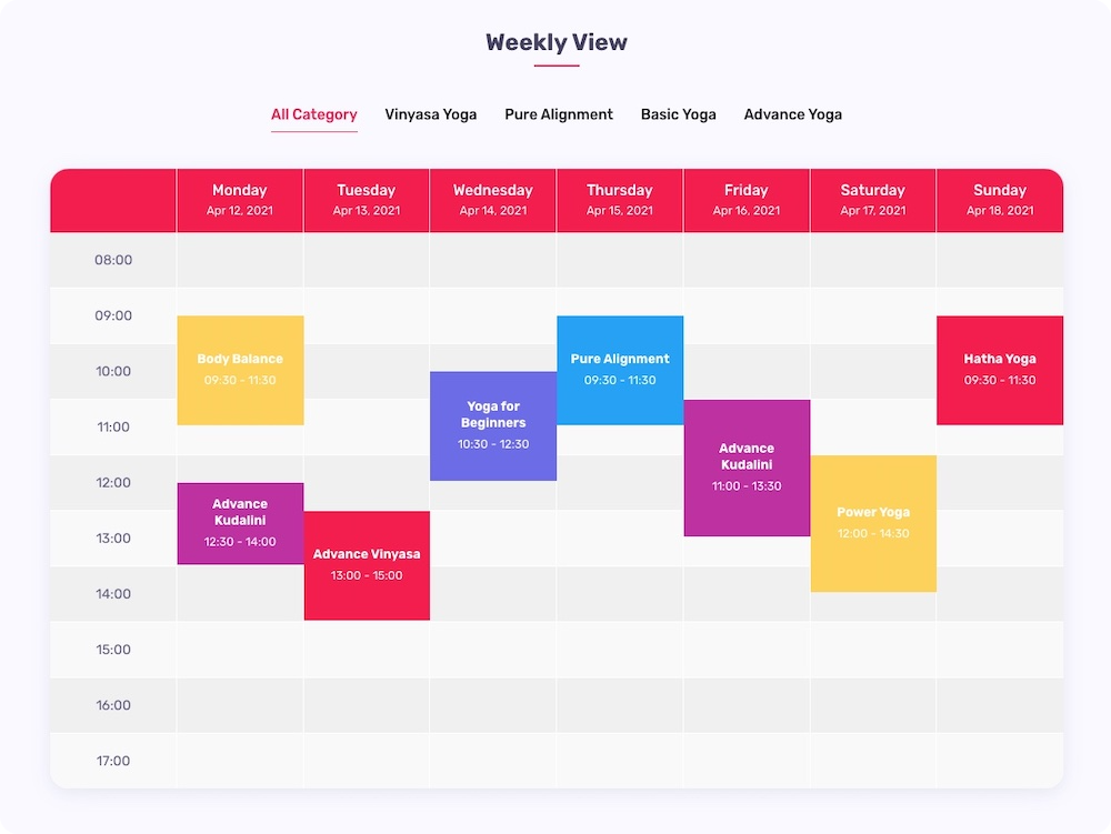 Quick Timetable - Weekly View